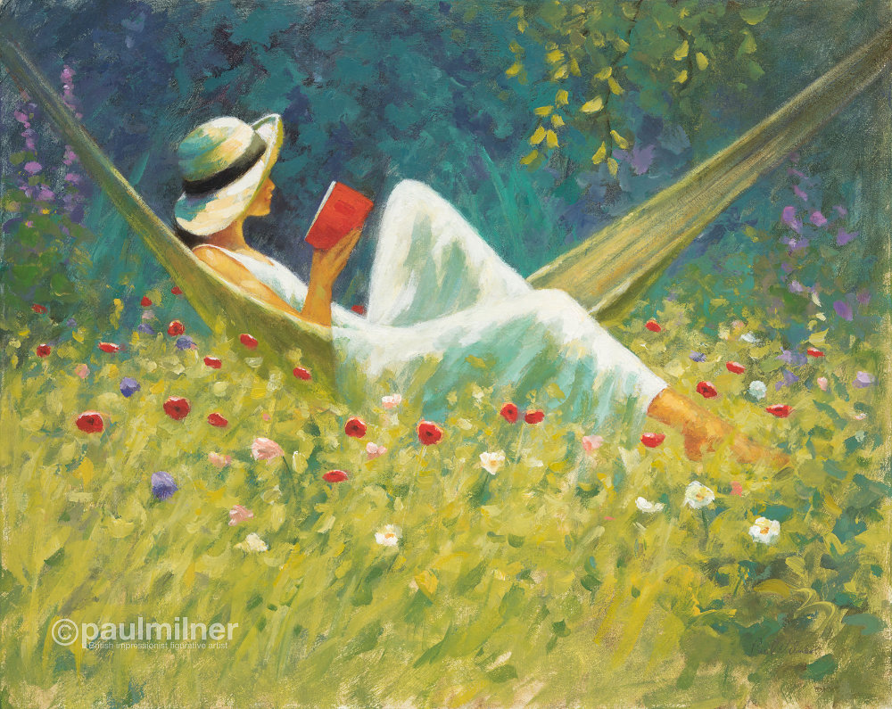 In the poppy garden, painting by Paul Milner