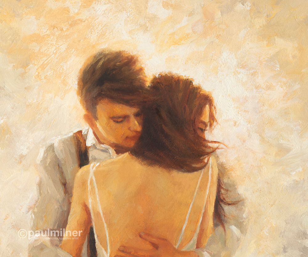 warm embrace,detail, an original painting by Paul Milner